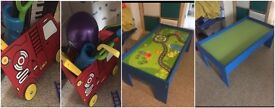 Wooden push along fire engine£15 train/activity table £25
