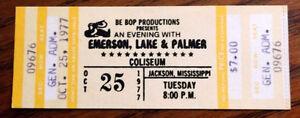1977 Emerson, Lake & Palmer unused ticket, Jackson Mississippi