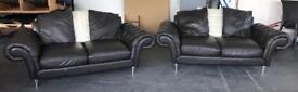 Black Thick Leather Two 3 Seater Sofa Set.Can Deliver