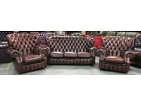 Brown leather Chesterfield 3pc sofa set WE DELIVER UK WIDE