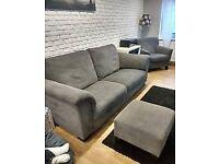 Set three seat sofa armchair footstool rug