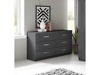 Double grey gloss chest of drawers BNIB