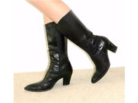 Black Russell & Bromley leather heeled boots size 5 / 38