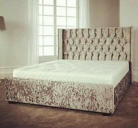 Velvet leather or chenille wingback double bed all colours