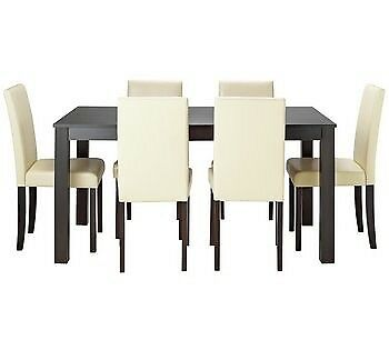 Wood Effect Black Dining Table And 4 Cream Chairs Argos