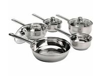 Brand New 5 Piece Stainless Steel Pan Set