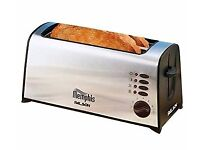 NEW IN BOX 4 SLICE TOASTER STAINLESS STEEL + WARMING RACK THICK THIN LEICESTER