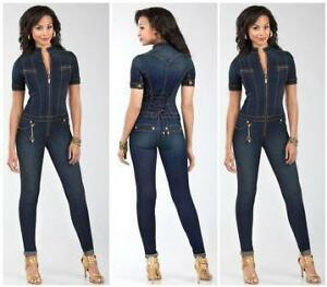 64b6ee7263 Womens baby phat lace back sexy blue jean jumpsuit JPG 300x263 Baby phat  rompers for women
