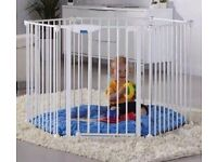 Lindam play pen, can be used as room divider or fireguard. Complete with fixings and play mat.