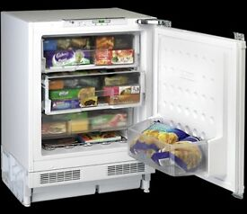 NEARLY NEW BEKO QZ32, A + RATED, 60 CM UNDER COUNTER INTEGRATED FREEZER IN WHITE RRP £299