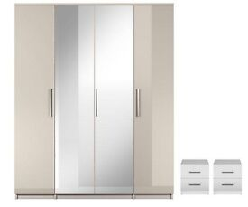 Prague Gloss 4-Door Mirrored Wardrobe and 2 bedside cabinets - white Gloss