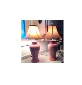 Beautiful Pink Porcelain Lamps with Flowers