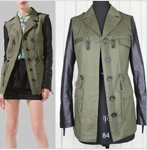 New-Green-Womens-PU-Leather-Sleeve-Jacket-Coat-Trench-Outwear-Parka