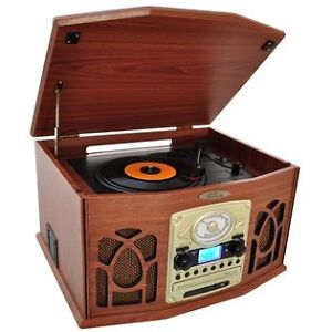 6 in 1 Retro Music System Record Player Cassette Radio CD Player MP3 Digital USB