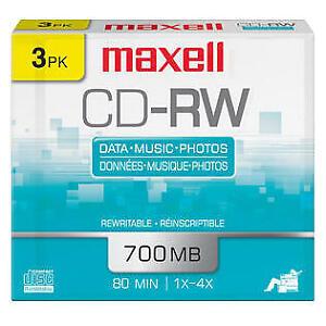 Paquet de CD-RW maxell 700MB. Flambant neuf