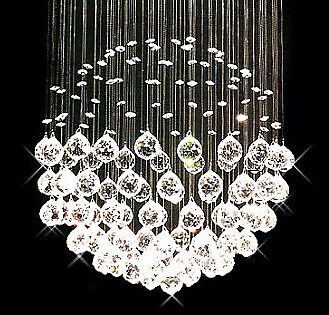 Contempo Collection Contemporary Modern Chandelier -Pendant K9 Crystals - -