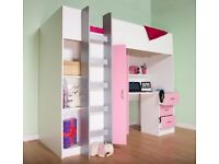 Childrens loft style high sleeper cabin bed, pink and white. Right hand ladder.