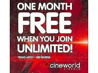 FREE MONTH OF CINEWORLD CINEMA CODE