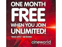 CINEWORLD UNLIMITED FREE MONTH CODE
