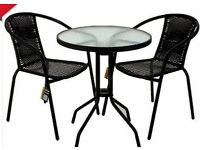 Rattan Patio Set Garden Bistro Furniture Round Glass Top Table 2 Chairs Set Of 3