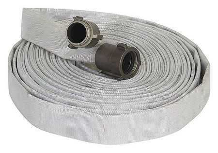 Forest-Lite G55H1F50N Wildland Fire Hose, Dia. 1 In, 50 Ft,White
