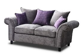 Sofas Cashmere Scatter Back 3 and 2 seater sofas in Crushed Velvet Silver and Purple