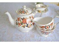 "Colchough ""royale' design large teapot, sugar bowl and creamer"