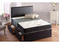 KING SIZE FAUX LEATHER BED WITH ORTHO/MEMORY FOAM MATTRESS & 2 DRAWER WITH HEADBOARD