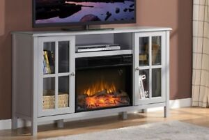 TV unit with fireplace.