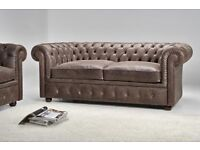 Suede Chesterfield Two Seater Sofa