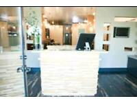 Salon reception desk (furniture, white, chairs, beauty, mirror)