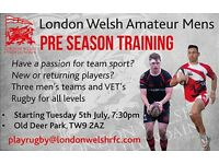 RUGBY: London Welsh Amateur Men Recruiting players of all ages and standard.