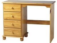 Solid Pine Chest Of Drawers + Desk + Bedside Table + Mirror + Stool