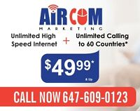 Unlimited high speed internet & homephone - $ 49* & up