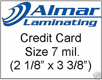 100 Credit Card Size Laminating Pouches 7 Mil.