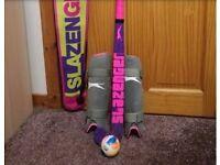 Slazenger Hockey stick, bag, shin guards and ball