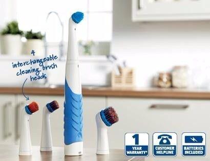 Ultrasonic Turbo Brush Sonic Powered Cleaner Precision Kitchen Bathroom Jewellery Facial 4 Heads