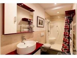 Modern looking red floating vanity