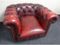 Chesterfield Buttoned Red Ox Blood Arm Chair.