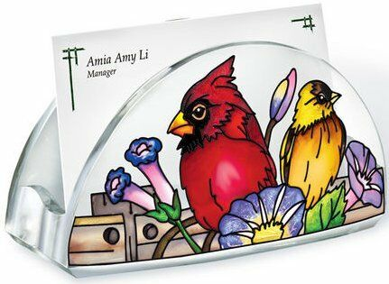 Amia RAIL BIRDS Painted Acrylic Business Card Holder 4.5 x 1.75 x 2.25 Cardinal
