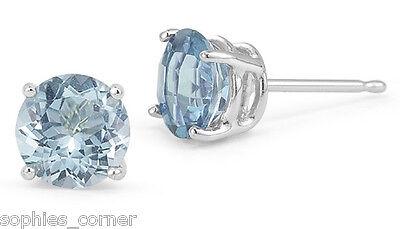 2 ct. Aquamarine Round Basket Set Stud Earrings in Solid Sterling Silver  (Aquamarine Sterling Silver Earrings)