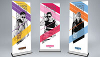 SPECIAL $70 ROLL UP BANNER 33IN RETRACTABLE PRINT