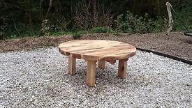 Oak sleeper Table garden furniture sets railway sleeper bench summer seat Loughview Joinery
