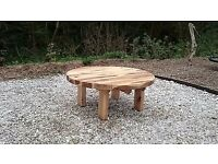 Oak sleeper Table garden furniture sets railway round oak table summer seat LoughviewJoineryLTD
