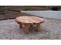 Round Oak Railway Sleeper table garden set summer furniture sets Loughview Joinery