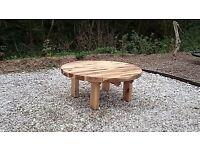 Oak sleeper Table garden furniture sets railway round oak table summer seat LoughviewJoineryLTD