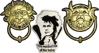Set Labyrinth Embroidered Patches Door Knockers Jareth the Goblin King Remind