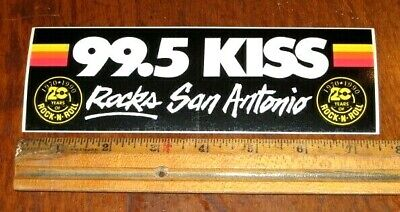 VINTAGE 99.5 KISS RADIO BUMPER STICKER 20th ANNIVERSARY KISS ROCKS SAN ANTONIO
