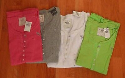 NWT Abercrombie & Fitch Annabel Icon Logo Ribbed Henley T-Shirt 3 Colors M or L