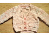 Pink and Cream Boy's Buttoned V-Neck Cardigan.Age 18-24 Months.